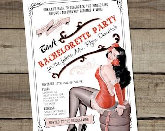 DIY Custom Printable Bachelorette Pin Up Girl Invitation