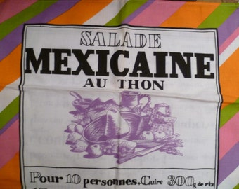 Vintage Recipe Tea Towel French - Salade Mexicaine au Thon Free Shipping Worldwide