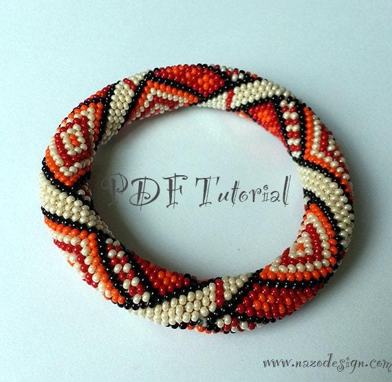 orange rug crochet bead bracelet pattern by crochetbeadropes