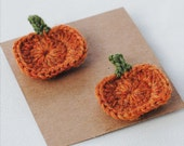 Set of 2 Crochet Pumpkin Hair Clips - Retro Style Halloween Hair Clips - Limited Edition - SnowFallStudio
