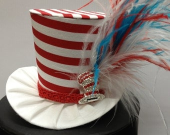 Dr Suess Inspired Mini Top Hat for Dress Up, Birthday, Tea Party or Photo Prop