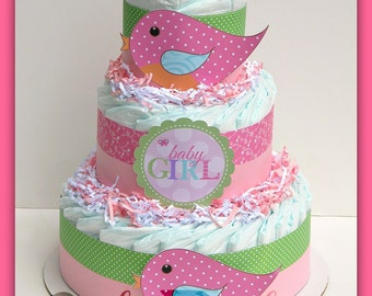 Tweet Baby Girl Baby Shower, Bird Diaper Cake , Baby Shower Decorations , Nesting Baby Shower