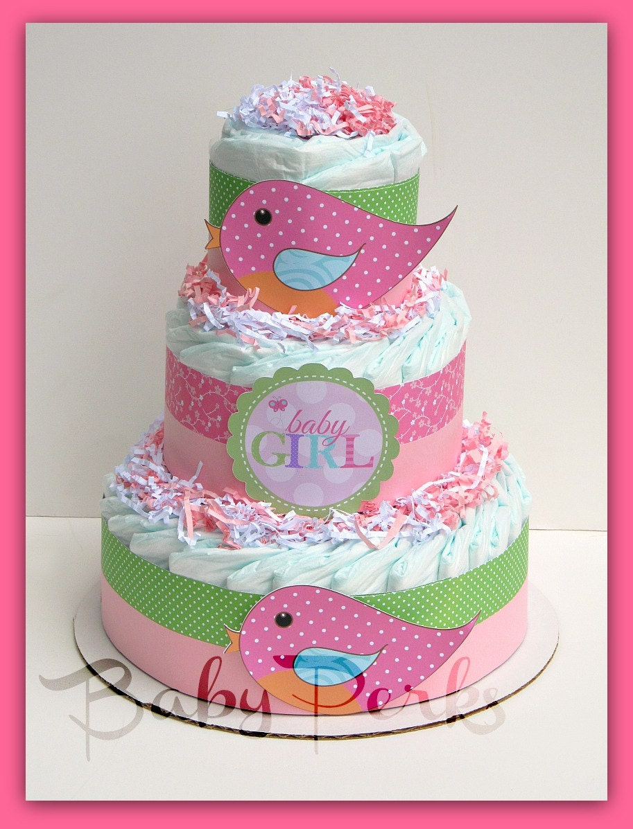 Tweet baby girl baby shower bird diaper cake baby shower for Baby shower decoration diaper cake
