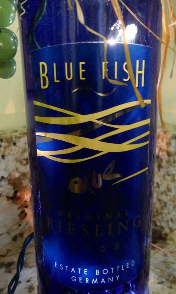 Items similar to lighted wine bottle blue fish on etsy for Fish wine bottle