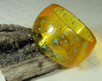 Yellow and Blue Lucite Bangle Bracelet