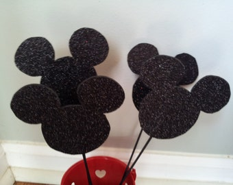 6 Mickey Mouse glitter head centerpieces party decorations