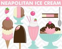 90% OFF SALE Clipart Neapolitan Ice Cream Summer Clip Art Set