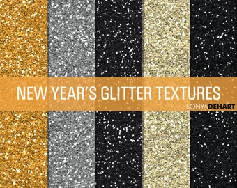 60% OFF SALE Glitter Digital Paper Glitter Textures Glitter Paper Pack New Year's Eve Backgrounds Gold Silver Black Champagne