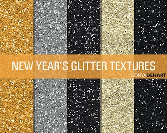 Glitter Digital Paper Glitter Textures Glitter Paper Pack New Year's Eve Backgrounds Gold Silver Black Champagne