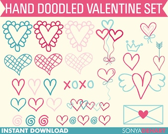 60% OFF SALE Valentines Clipart, Doodles Clipart, Valentines Day, Clipart, Clip Art, Party Clipart, Clip Art Balloons, Hearts Clipart