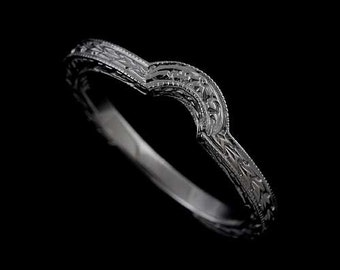 14k White Gold Curved Engraved Vintage Style Wedding Band 2mm Wide