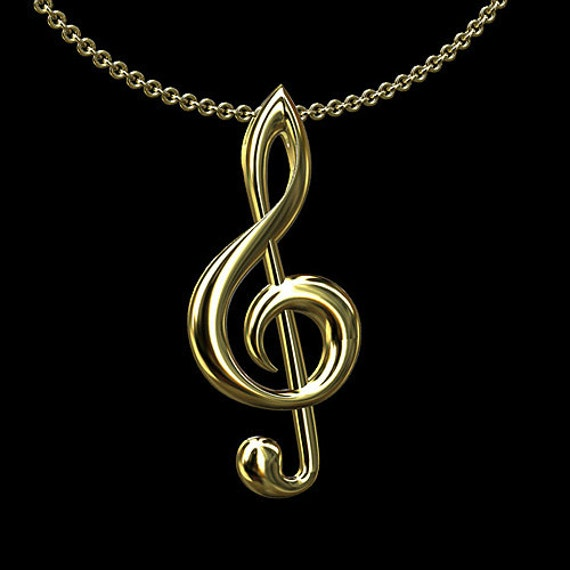 treble clef gold necklace note pendant symbol