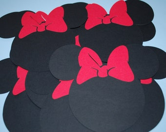 """Minnie Mouse Die Cuts (20) 5"""" with RED Bows"""