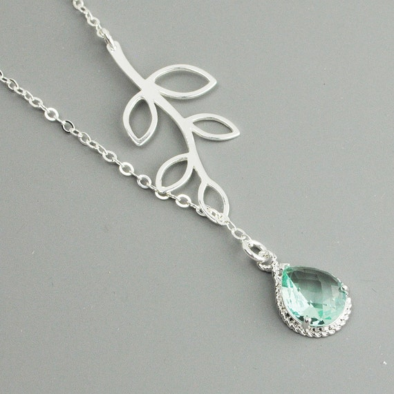 Sterling Silver Leaf Necklace - Light Green Prasiolite Branch Lariat Necklace - Bridesmaid Necklace - April Birthstone -  Woodland Jewelry