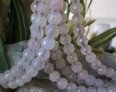 Rose Quartz Round Big Hole Bead 8 MM Faceted Large Hole for Leather 8""