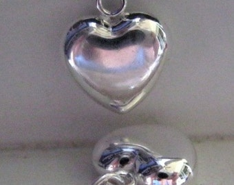 Pair of Puffy Heart Charms Sterling Silver Charm Pendant  12.5MM