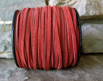 Red Split Suede Leather Lace 3MM Craft Jewelry Cord 5 Yds