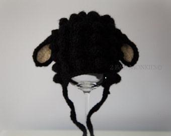 Black Sheep Hat, Lamb Hat, Baby lamb hat, newborn lamb hat, Black lamb hat, Halloween costume, Adult Lamb hat