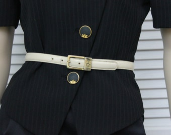 Vintage Leather Skinny Belt by Anne Klein for Calderon with a Gold Tone Lion Buckle Small