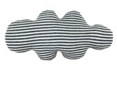 CLOUD shaped pillow - white and blue or grey stripes, soft knitted cushion