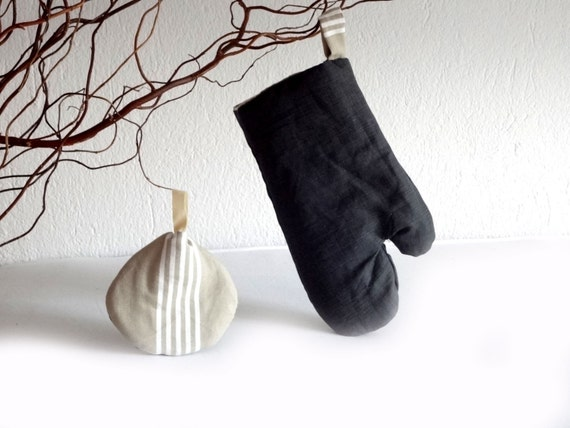 Grill glove an pot holder  - for mom - ecru & brown - kitchen decor