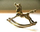 Vintage Brass Rocking Horse, Brass Figurine, Nursery Decor, Shower Gift, Brass Pony