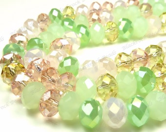 8x5mm Designer Mix Pastel Garden Glass Beads - 8 Inch Strand - Round, Rondelle, Faceted, Green, Mint, Pink, Yellow - BE18