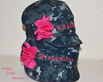 Military Baby girl hat, Navy nwu hat, acu hat, airforce, marines, us navy hat, military hat All sizes