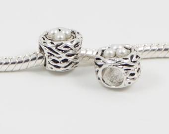 3 Beads - Bird Nest Pearl Beads Silver European Bead Charm E0108