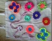 Cotton bag with crochet flowers
