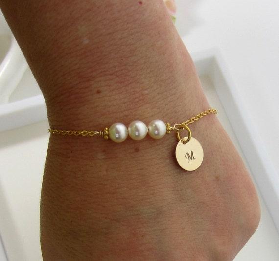 Personalized Custom bracelet Initial Bracelet Pearl
