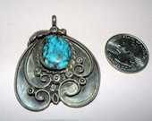 Native American Artist Signed Pendant with Turquoise 16.5 grams