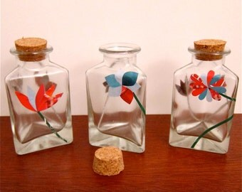 Small Glass Vase Trio, Magazine Paper Decoupage Collages, Red, Turquoise