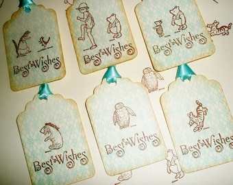 Winnie the Pooh Wedding Wish Tree Tags-Classic Pooh favor tags-Baby shower gift tags-set of 12
