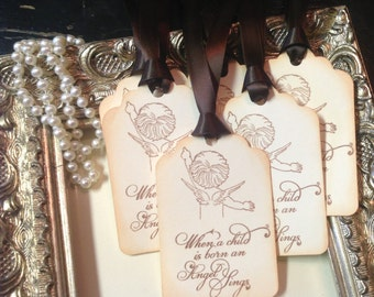 Angel Baby Shower Wish Tree Tags-Gender neutral-Angel baby gift tags-Set of 6