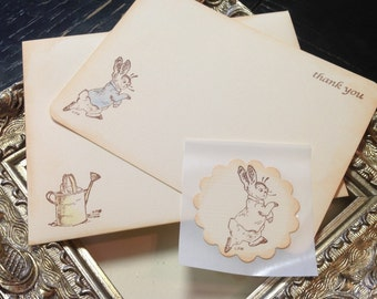 Peter Rabbit thank you note cards-Envelope seals-Thank you card set-Beatrix Potter stationery-Set of 10