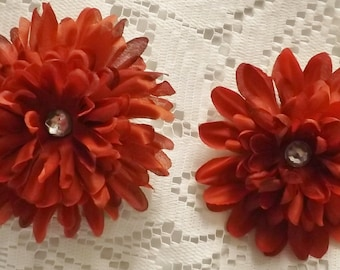Dark Red Daisy Flower Hair Clip, Hair Clip, Flower Clip, Red Hair Clip, Flower Girl Hair Clip, Teen Hair Clip, Adult Hair Clip