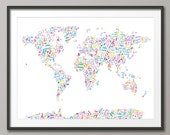 Music Notes Map of the World Map, Art Print (21)