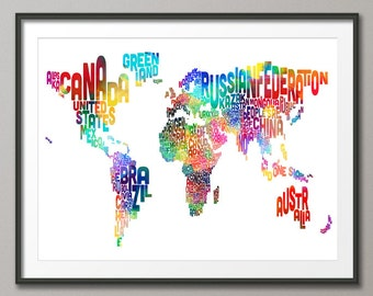 Typography Text Map of the World Map, Art Print (187)