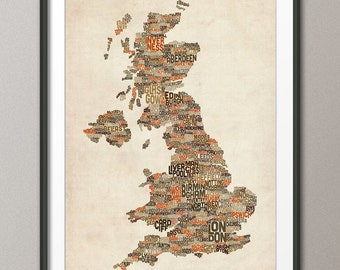 Great Britain UK City Text Map, Art Print (231)