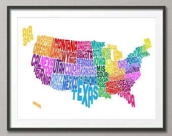 United States Typography Text Map, Art Print (209)