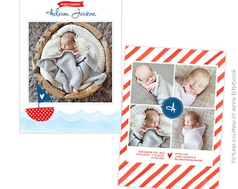 INSTANT DOWNLOAD - Birth announcement template - Sailor dreams - E756