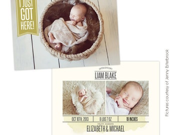 INSTANT DOWNLOAD - Birth announcement template - Got here  - E758