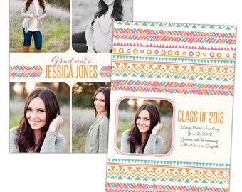 INSTANT DOWNLOAD - Graduation announcement - Photoshop Templates - E783