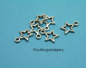 Star Charm, 16 Charms Antique Silver  13 x 10 mm  U.S Seller - ts156