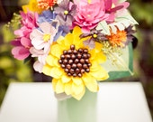 Colorful Summer/Fall Sunflower and Wildflower Paper Flower Wedding Bouquet