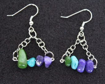 Silver Dangle Colored Stone Earrings