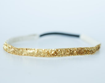 "No Slip Glitter Headband  Gold  3/8"",  5/8"", or 1.5"""