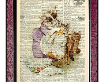 BEATRIX POTTER- CATS 2 Kids Wall Art Digital Print Cat Illustration Children Art Print Nursery Decor Kids Illustration Cat Drawing