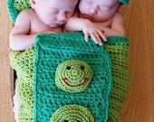 Hand crocheted two peas in a pod cocoon/costume/photo prop